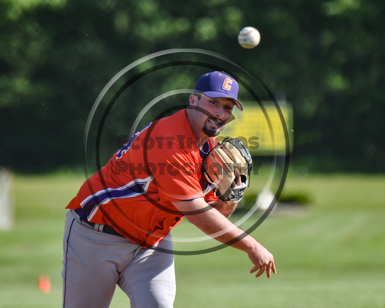 Cortland Crush Brenden Clanton (34) pitching against the Sherrill Silversmiths at the LaFayette Junior and Senior High School Field in LaFayette, New York on Saturday, June 9, 2018. Cortland won 12-6.
