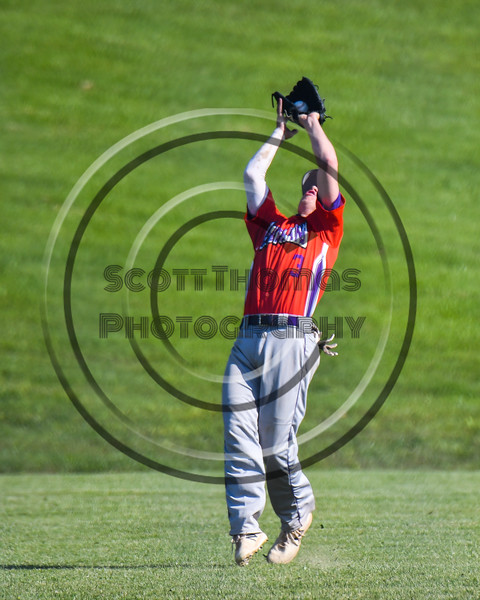 Cortland Crush Anthony Cieszko (3) makes a catch for an o ut against the Sherrill Silversmiths at the LaFayette Junior and Senior High School Field in LaFayette, New York on Saturday, June 9, 2018. Cortland won 12-6.