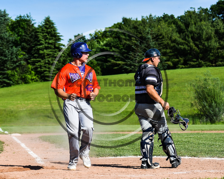 Cortland Crush Storm Grant (42) scores a run against the Sherrill Silversmiths at the LaFayette Junior and Senior High School Field in LaFayette, New York on Saturday, June 9, 2018. Cortland won 12-6.