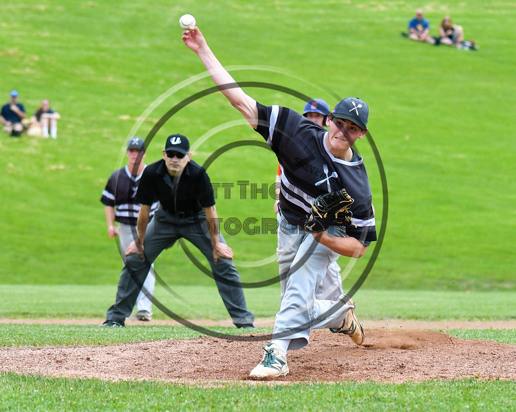 Sherrill Silversmiths Michael Mathews (17) pitching against the Cortland Crush at the LaFayette Junior and Senior High School Field in LaFayette, New York on Saturday, June 9, 2018. Cortland won 12-6.