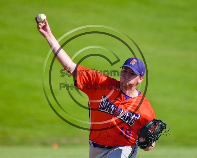 Cortland Crush Ben Mack (18) pitching against the Sherrill Silversmiths at the LaFayette Junior and Senior High School Field in LaFayette, New York on Saturday, June 9, 2018. Cortland won 12-6.