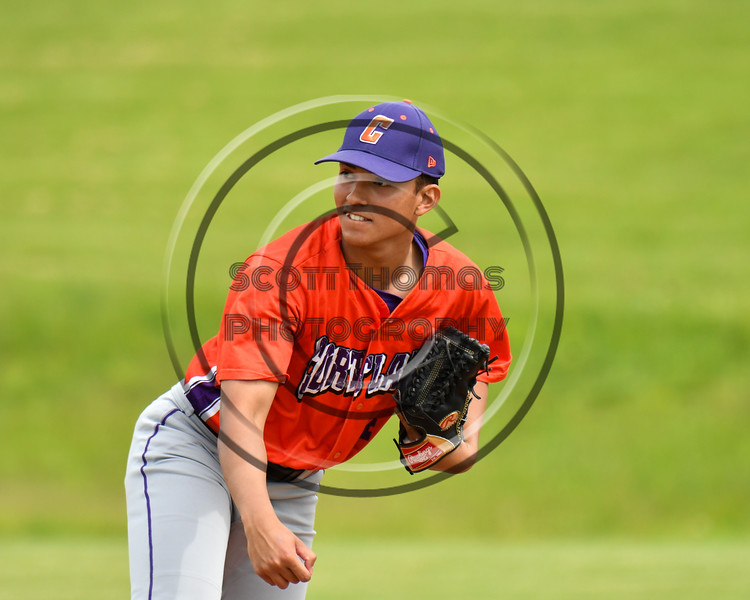 Cortland Crush Justin Pacheco (4) pitching against the Sherrill Silversmiths at the LaFayette Junior and Senior High School Field in LaFayette, New York on Saturday, June 9, 2018. Cortland won 12-6.