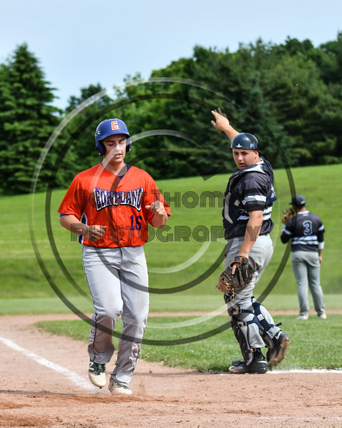 Cortland Crush Alex Babcock (16) scores a run against the Sherrill Silversmiths at the LaFayette Junior and Senior High School Field in LaFayette, New York on Saturday, June 9, 2018. Cortland won 12-6.