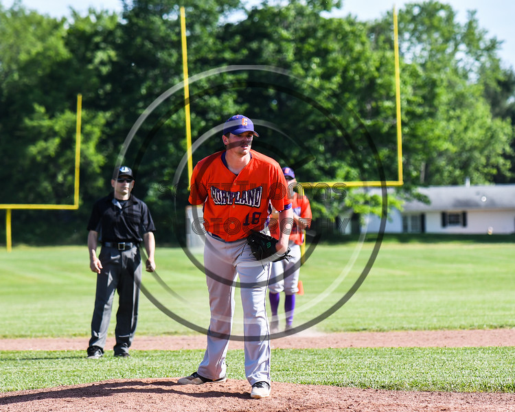 Cortland Crush pitcher Ben Mack (18) on the mound against the Sherrill Silversmiths at the LaFayette Junior and Senior High School Field in LaFayette, New York on Saturday, June 9, 2018. Cortland won 12-6.