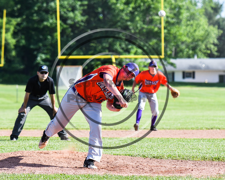 Cortland Crush Ben Mack (18) pitching against the Sherrill Silversmiths at the LaFayette Junior and Senior High School Field in LaFayette, New York on Saturday, June 9, 2018. Cortland won 12-6.