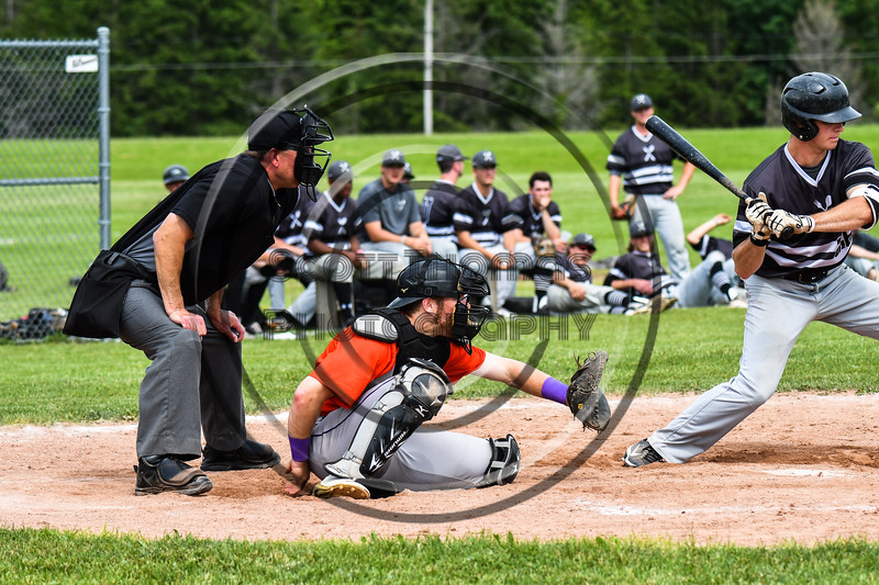 Cortland Crush catcher Justin Valentino (15) behind the plate against the Sherrill Silversmiths at the LaFayette Junior and Senior High School Field in LaFayette, New York on Saturday, June 9, 2018. Cortland won 12-6.