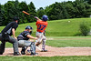 Cortland Crush John Volpe (37) sends the ball into Left Field for a hit against the Sherrill Silversmiths at the LaFayette Junior and Senior High School Field in LaFayette, New York on Saturday, June 9, 2018. Cortland won 12-6.