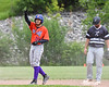 Cortland Crush Nelson Laviosa (10) salutes his team and fans after hitting a Double against the Sherrill Silversmiths at the LaFayette Junior and Senior High School Field in LaFayette, New York on Saturday, June 9, 2018. Cortland won 12-6.