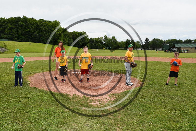 First Pitch participants throw their baseballs before the Cortland Crush played the Sherrill Silversmiths at the LaFayette Junior and Senior High School Field in LaFayette, New York on Saturday, June 9, 2018.