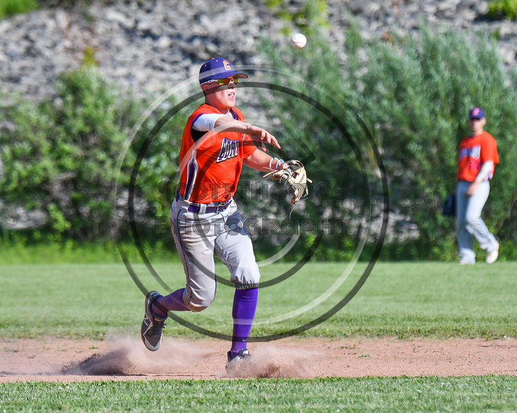 Cortland Crush Tyler McKeon (7) throws the ball against the Sherrill Silversmiths at the LaFayette Junior and Senior High School Field in LaFayette, New York on Saturday, June 9, 2018. Cortland won 12-6.