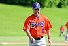 Cortland Crush Head Coach Bill McConnell (6) walking back to the dugout after a conference at the mound agains the Sherrill Silversmiths at the LaFayette Junior and Senior High School Field in LaFayette, New York on Saturday, June 9, 2018. Cortland won 12-6.