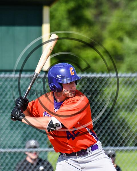 Cortland Crush Storm Grant (42) at bat against the Sherrill Silversmiths at the LaFayette Junior and Senior High School Field in LaFayette, New York on Saturday, June 9, 2018. Cortland won 12-6.
