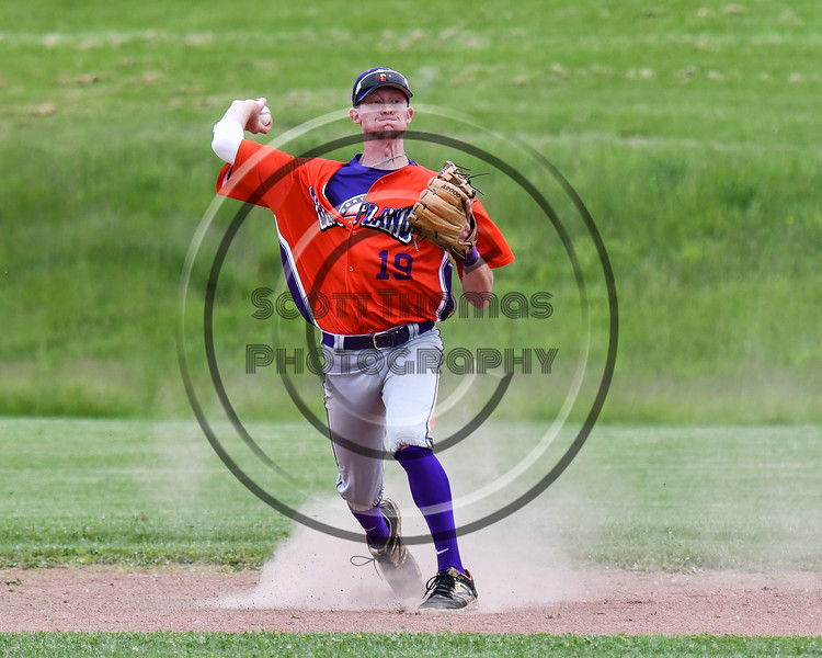Cortland Crush Jonathan Triesler (19) winds up for a throw against the Sherrill Silversmiths at the LaFayette Junior and Senior High School Field in LaFayette, New York on Saturday, June 9, 2018. Cortland won 12-6.