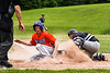 Cortland Crush Jonathan Triesler (19) slides safe into Home Plate against Sherrill Silversmiths catcher Matthew Fitzgerald (7) to score a run at the LaFayette Junior and Senior High School Field in LaFayette, New York on Saturday, June 9, 2018. Cortland won 12-6.