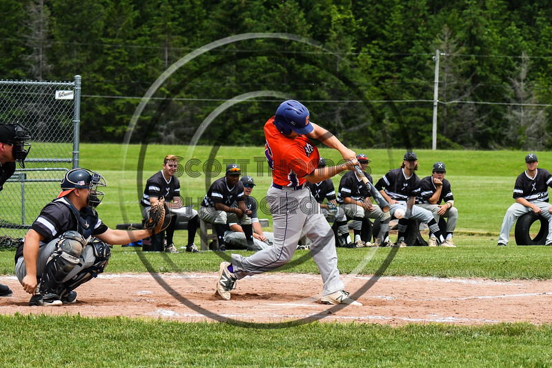 Cortland Crush Alex Babcock (16) hits the ball against the Sherrill Silversmiths at the LaFayette Junior and Senior High School Field in LaFayette, New York on Saturday, June 9, 2018. Cortland won 12-6.
