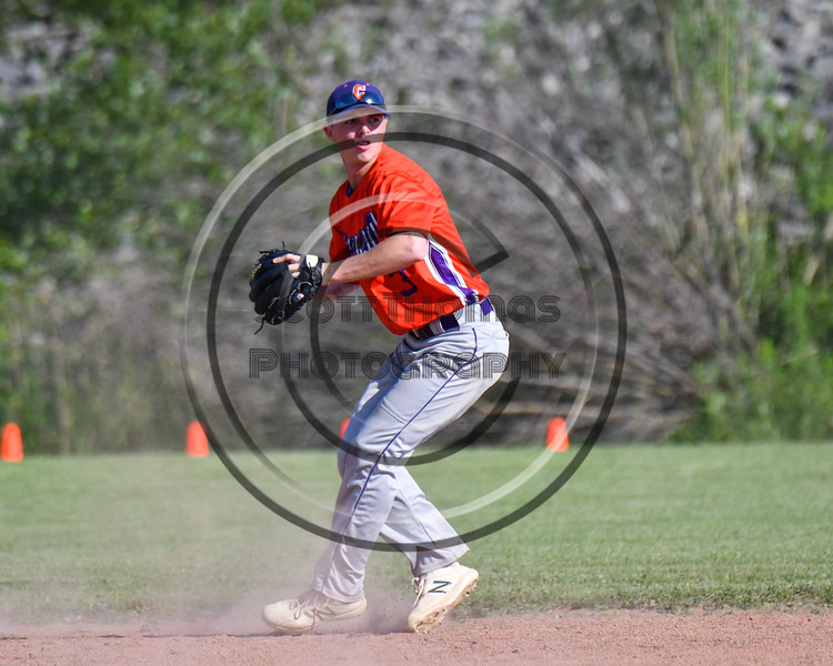 Cortland Crush Anthony Cieszko (3) fields the ball against the Sherrill Silversmiths at the LaFayette Junior and Senior High School Field in LaFayette, New York on Saturday, June 9, 2018. Cortland won 12-6.