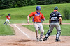 Cortland Crush Zach Kelley (33) crosses Home Plate to score a run against the Sherrill Silversmiths at the LaFayette Junior and Senior High School Field in LaFayette, New York on Saturday, June 9, 2018. Cortland won 12-6.