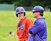 Cortland Crush John Volpe (37) talks with Assistant and 1st Base Coach Connor Griffin during the game against the Sherrill Silversmiths at the LaFayette Junior and Senior High School Field in LaFayette, New York on Saturday, June 9, 2018. Cortland won 12-6.