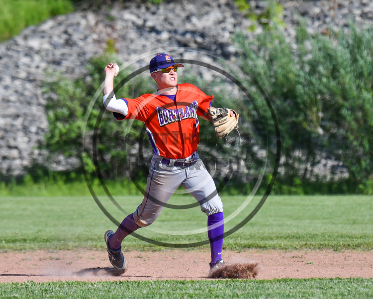 Cortland Crush Tyler McKeon (7) fields the ball and gets ready to throw the ball against the Sherrill Silversmiths at the LaFayette Junior and Senior High School Field in LaFayette, New York on Saturday, June 9, 2018. Cortland won 12-6.