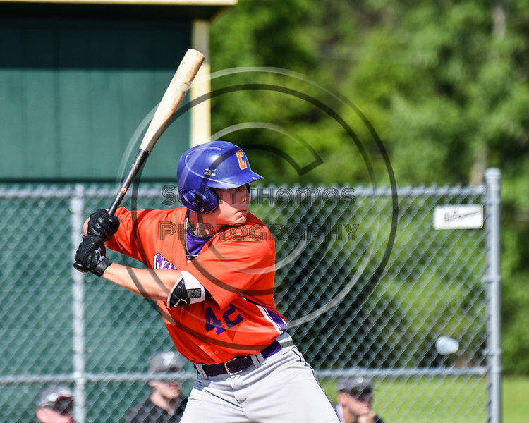 Cortland Crush Storm Grant (42) at bat against the Sherrill Silversmiths at the LaFayette Junior and Senior High School Field in LaFayette, New York on Saturday, June 9, 2018. Cortland won 12-6.
