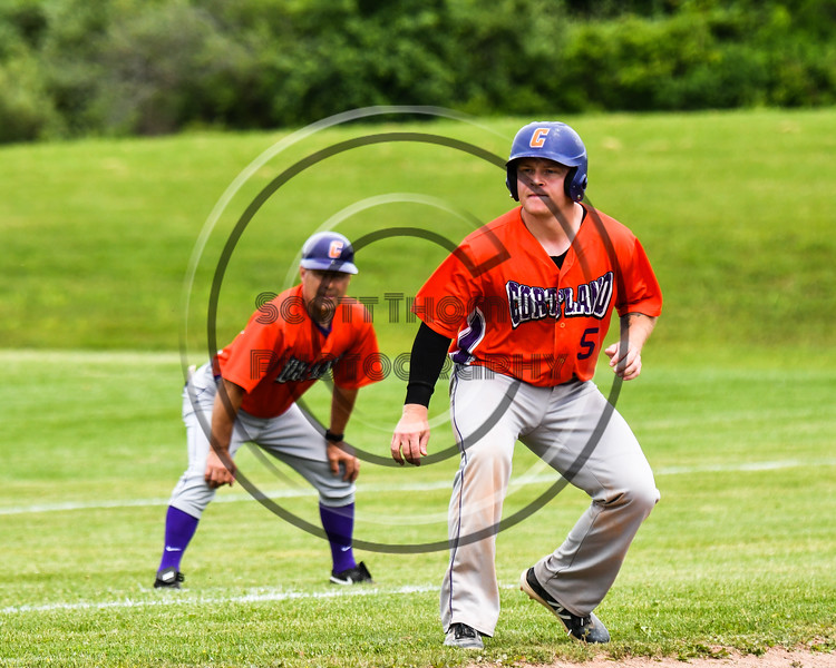 Cortland Crush Hayden Houts (5) on base against the Sherrill Silversmiths at the LaFayette Junior and Senior High School Field in LaFayette, New York on Saturday, June 9, 2018. Cortland won 12-6.