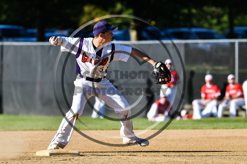 Cortland Crush Anthony Cieszko (3) about to throw the Onondaga Flames runner at 1st Base on Greg's Field at Beaudry Park in Cortland, New York on Friday, June 15, 2018. Onondaga won 8-7.