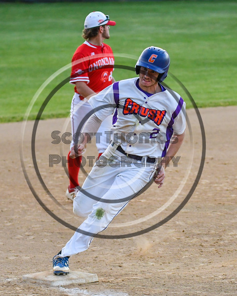 Cortland Crush Alex Flock (2) rounds 3rd Base against the Onondaga Flames on Greg's Field at Beaudry Park in Cortland, New York on Friday, June 15, 2018. Onondaga won 8-7.