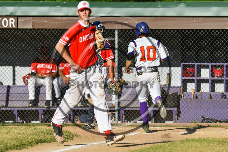 Cortland Crush Nelson Laviosa (10) scores a run against the Onondaga Flames on Greg's Field at Beaudry Park in Cortland, New York on Friday, June 15, 2018. Onondaga won 8-7.