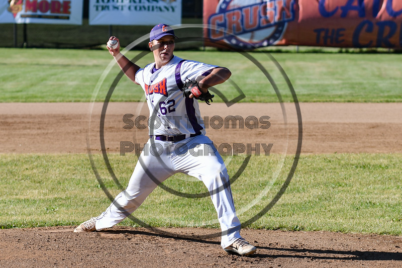 Cortland Crush starting pitcher Daniel Steve (62) throwing against the Onondaga Flames on Greg's Field at Beaudry Park in Cortland, New York on Friday, June 15, 2018. Onondaga won 8-7.