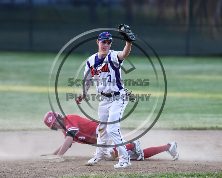 Cortland Crush Anthony Cieszko (3) after tagging Onondaga Flames Michael Netzel (9) out at 2nd Base on Greg's Field at Beaudry Park in Cortland, New York on Friday, June 15, 2018. Onondaga won 8-7.