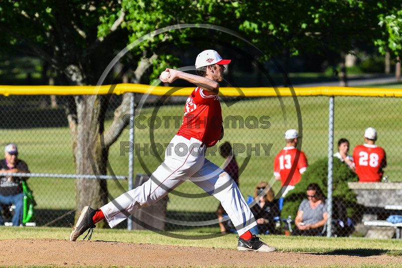 Onondaga Flames Connor Morrisroe (35) pitching against the Cortland Crush on Greg's Field at Beaudry Park in Cortland, New York on Friday, June 15, 2018. Onondaga won 8-7.