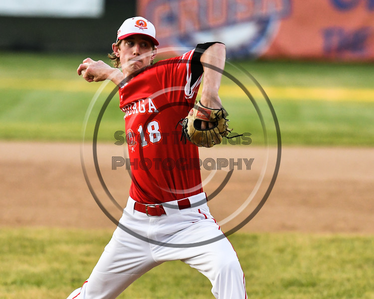 Onondaga Flames Jeremy Taylor (18) pitching against the Cortland Crush on Greg's Field at Beaudry Park in Cortland, New York on Friday, June 15, 2018. Onondaga won 8-7.
