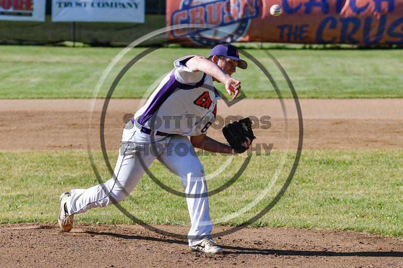 Cortland Crush Daniel Steve (62) pitching against the Onondaga Flames on Greg's Field at Beaudry Park in Cortland, New York on Friday, June 15, 2018. Onondaga won 8-7.