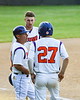Cortland Crush Head Coach Bill McConnell (6) talks with Alex Flock (2) and Nick Palma (27) during an Onondaga Flames pitching change on Greg's Field at Beaudry Park in Cortland, New York on Friday, June 15, 2018. Onondaga won 8-7.