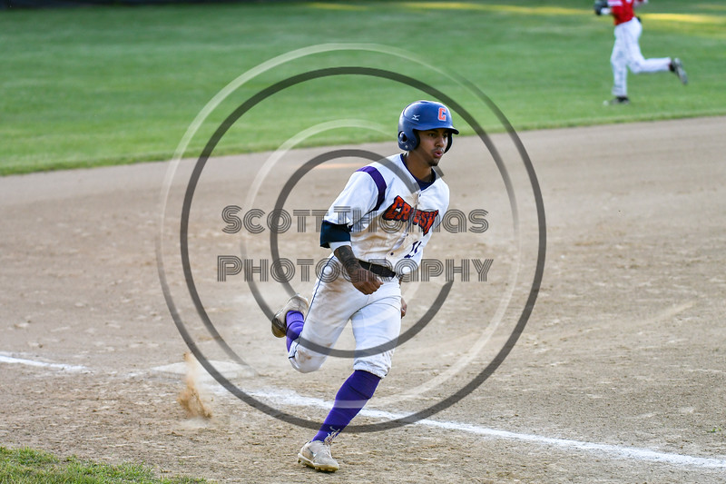 Cortland Crush Julio Creazzola (11) running the bases against the Onondaga Flames on Greg's Field at Beaudry Park in Cortland, New York on Friday, June 15, 2018. Onondaga won 8-7.