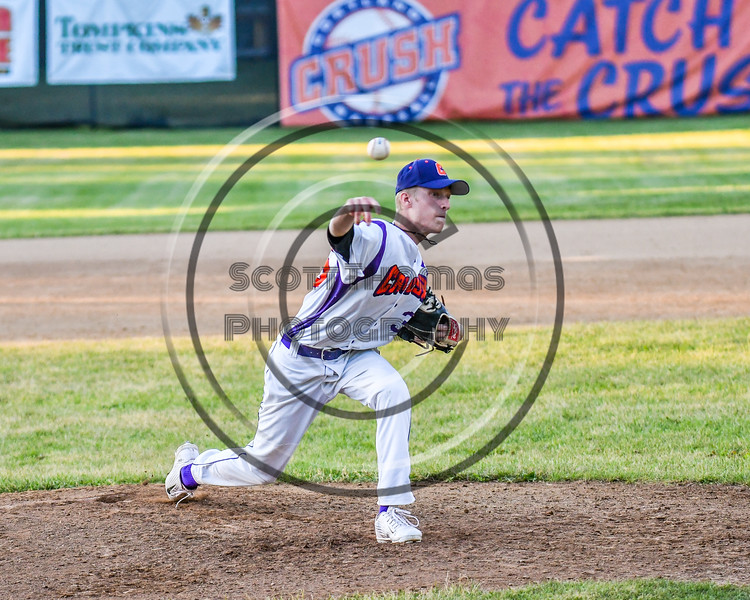 Cortland Crush Logan Persse (36) pitching against the Onondaga Flames on Greg's Field at Beaudry Park in Cortland, New York on Friday, June 15, 2018. Onondaga won 8-7.