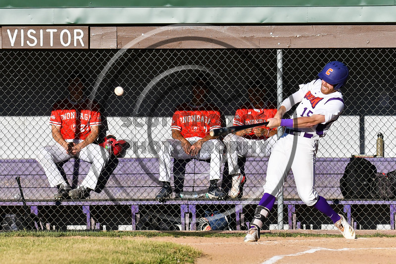 Cortland Crush Justin Valentino (15) gets a hit against the Onondaga Flames which scores two runs on Greg's Field at Beaudry Park in Cortland, New York on Friday, June 15, 2018. Onondaga won 8-7.