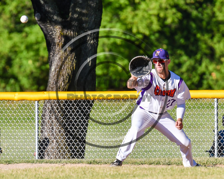Cortland Crush Nick Palma (27) playing 1st Base against the Onondaga Flames on Greg's Field at Beaudry Park in Cortland, New York on Friday, June 15, 2018. Onondaga won 8-7.