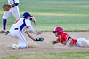 Cortland Crush Anthony Cieszko (3) tagging Onondaga Flames Michael Netzel (9) at 2nd Base on Greg's Field at Beaudry Park in Cortland, New York on Friday, June 15, 2018. Onondaga won 8-7.