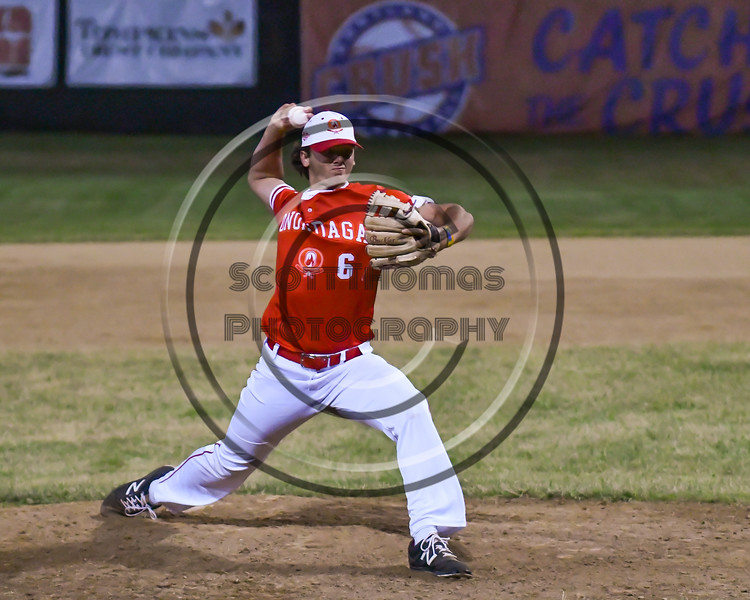 Onondaga Flames Nick Garcia (6) closes out the Cortland Crush on Greg's Field at Beaudry Park in Cortland, New York on Friday, June 15, 2018. Onondaga won 8-7.