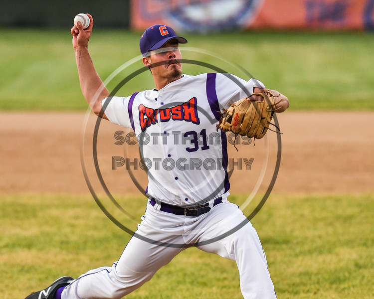 Cortland Crush Jordan Christian (31) pitching against the Onondaga Flames on Greg's Field at Beaudry Park in Cortland, New York on Friday, June 15, 2018. Onondaga won 8-7.