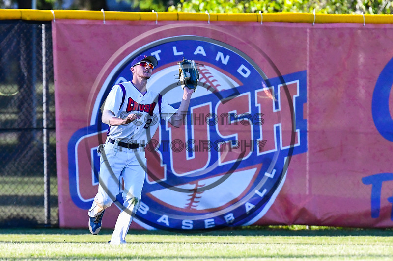 Cortland Crush Alex Flock (2) catches a fly ball for an out against the Onondaga Flames on Greg's Field at Beaudry Park in Cortland, New York on Friday, June 15, 2018. Onondaga won 8-7.