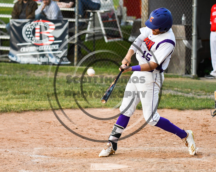 Cortland Crush Justin Valentino (15) hits the ball against the Onondaga Flames on Greg's Field at Beaudry Park in Cortland, New York on Friday, June 15, 2018. Onondaga won 8-7.