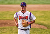 Cortland Crush Jordan Christian (31) trots off the field after getting the final out against the Onondaga Flames on Greg's Field at Beaudry Park in Cortland, New York on Friday, June 15, 2018. Onondaga won 8-7.