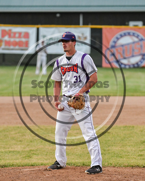 Cortland Crush Jordan Christian (31) on the mound against the Onondaga Flames on Greg's Field at Beaudry Park in Cortland, New York on Friday, June 15, 2018. Onondaga won 8-7.