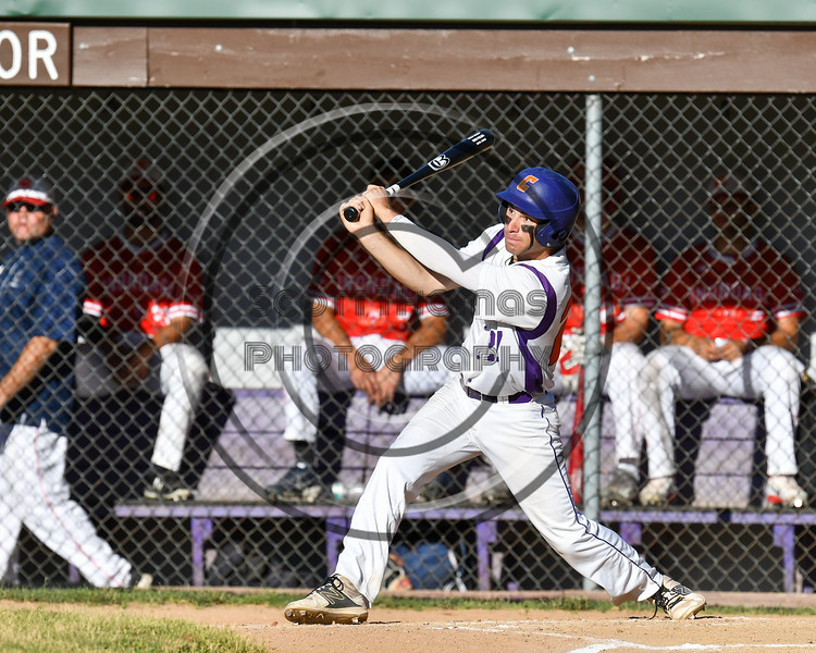 Cortland Crush Nick Palma (27) after hitting the ball against the Onondaga Flames on Greg's Field at Beaudry Park in Cortland, New York on Friday, June 15, 2018. Onondaga won 8-7.