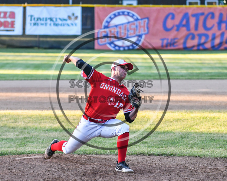 Onondaga Flames Casey Kretsch (10) pitching against the Cortland Crush on Greg's Field at Beaudry Park in Cortland, New York on Friday, June 15, 2018. Onondaga won 8-7.