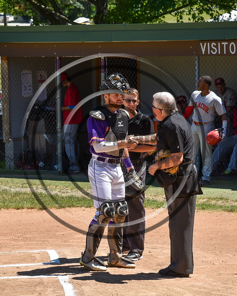 Cortland Crush Justin Valentino (15) being introduced before playing the Syracuse Salt Cats on Greg's Field at Beaudry Park in Cortland, New York on Saturday, June 16, 2018.