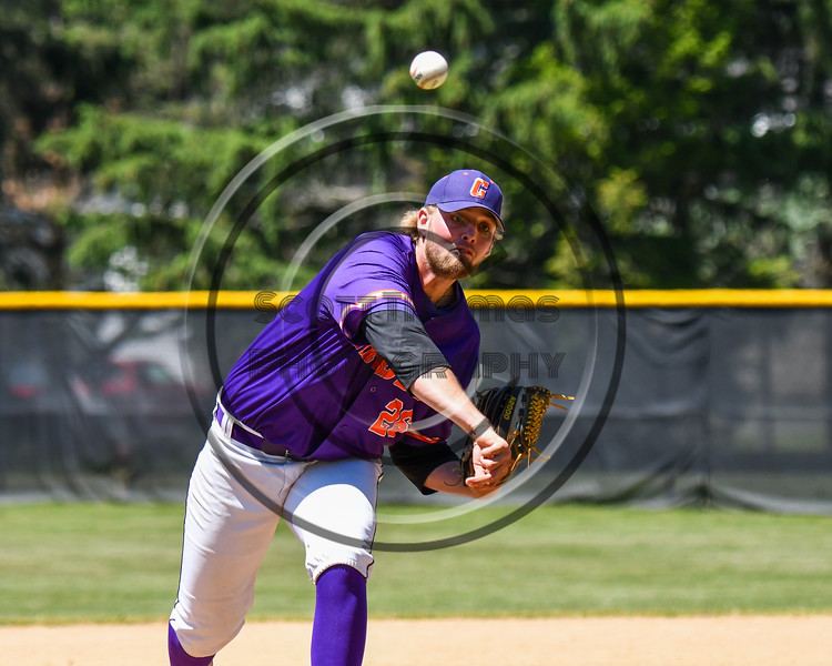 Cortland Crush Alex Larson (26) pitched a complete game shutout against the Syracuse Salt Cats on Greg's Field at Beaudry Park in Cortland, New York on Saturday, June 16, 2018. Cortland won 10-0.