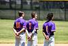 Cortland Crush Alex Babcock (16), Tyler McKeon (7) and Iset Maldonado (1) standing for the National Anthem before playing the Syracuse Salt Cats in a Double Header on Greg's Field at Beaudry Park in Cortland, New York on Saturday, June 16, 2018.